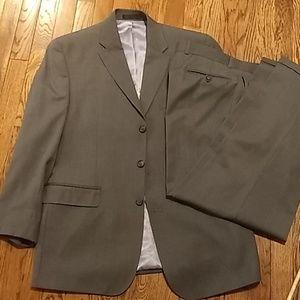 Men's grey striped suit.